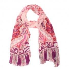 Modal/kashmir sjal i rosa och violett mönster