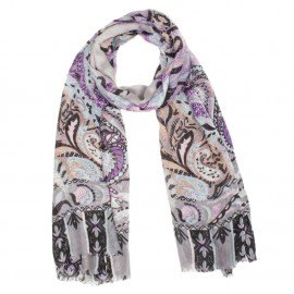 Modal/kashmir sjal i violett och grått mønster