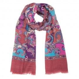Rödbrun scarf med tryck i ull och silke
