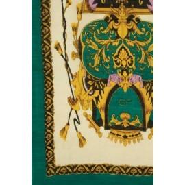 Grön scarf med tryck i silke och ull