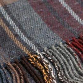Gråblå skotskrutig halsduk i ren lammull