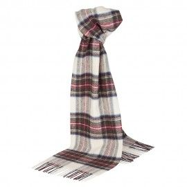 Benvit skotskrutig halsduk