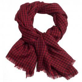 Smårutig pashmina sjal i röd och navy
