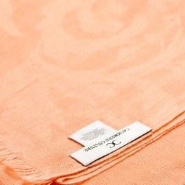 Persikofärgad jacquardvävd pashmina sjal