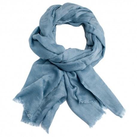 duvblå jacquardvävd pashmina sjal
