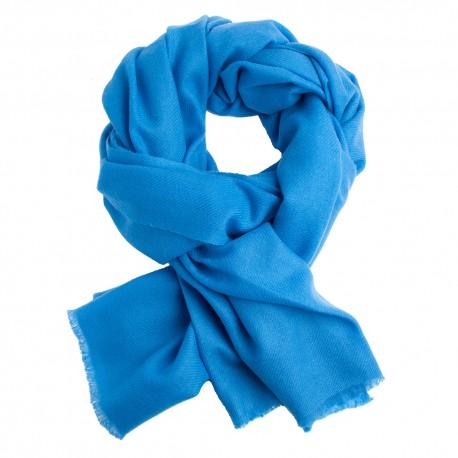 Azurblå kypertvävd pashmina halsduk