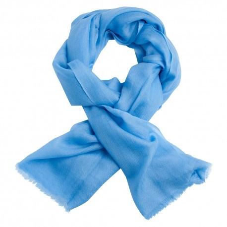 Ljusblå pashmina sjal i 2-trädigt kypert