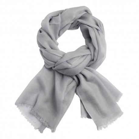 Ljusgrå pashmina sjal i 2-trädigt kypert