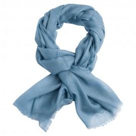 Dueblå pashmina sjal i 2-trådigt kypert