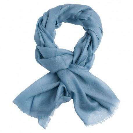 Duvblå pashmina sjal i 2-trådigt kypert