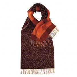 Mørkerødt scarf med djurtryck och rutor
