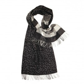 Svart scarf med djurtryck och rutor