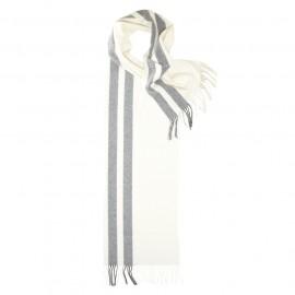 Randig scarf i vit och mörkgrå