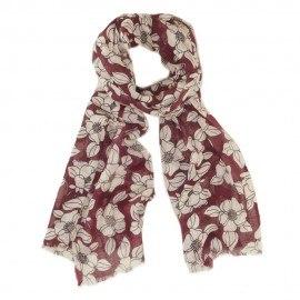 Röd ullhalsduk med vit blommiga tryck