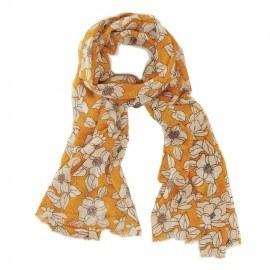 Orange ullhalsduk med blommönster