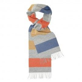 Ljusgrå scarf med ränder i rött/gult/blått