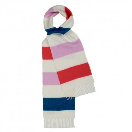 Benvit scarf med ränder i rosa/rött/blått