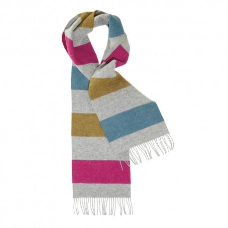 Grå scarf med ränder i gult/blått/violett