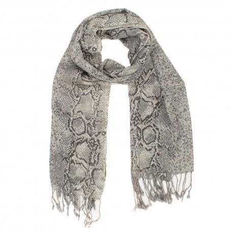 Ullhalsduk med grå orm-print