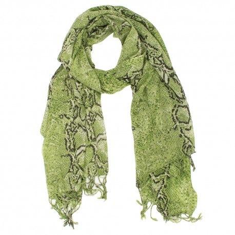 Ullhalsduk med olivgrön orm-print