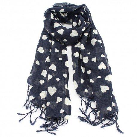 Mörkblå ullhalsduk med hjärt print