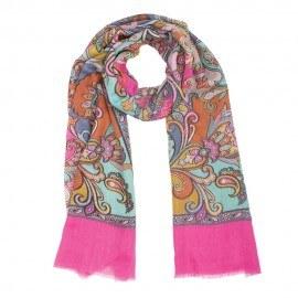 Rosa halsduk i ull och siden med print