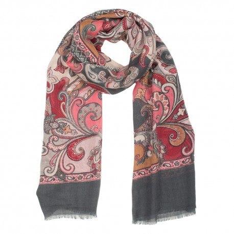 Grå halsduk i ull og siden med print