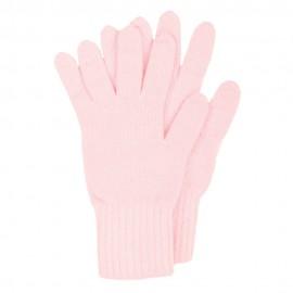 Rosa stickade handskar i lammull