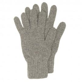Grå stickade handskar i lammull
