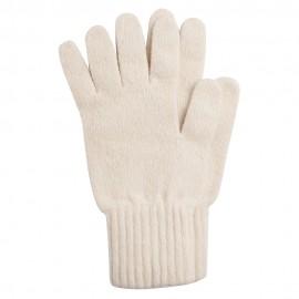 Benvita stickade handskar i lammull