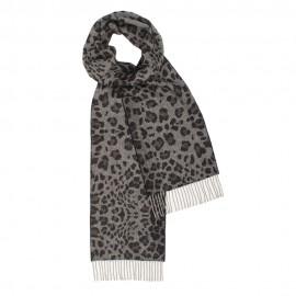 Mörkgrå scarf med djurtryck