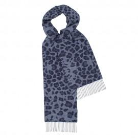 Mörkblå scarf med djurtryck