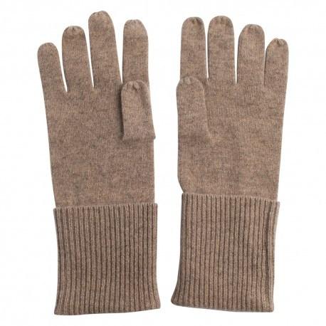 Beige stickade kashmir handskar