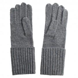 Ljusgrå stickade kashmir handskar