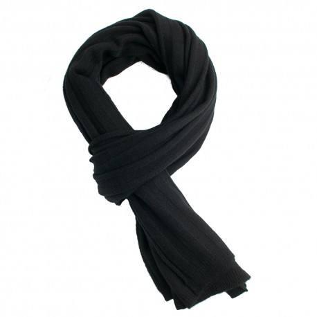Svart stickad scarf i kashmir