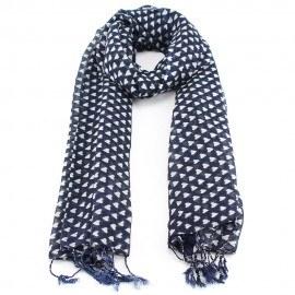 Mörkblå halsduk i ull och siden med hjärtmönster