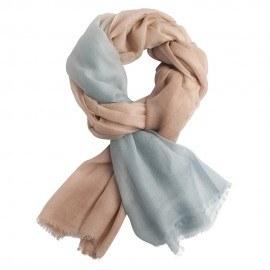 Tvåfärgad pashmina sjal i blå och beige