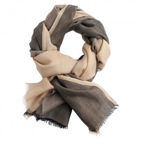 Trefärgad pashmina sjal i beige, grå och svart
