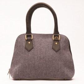 Grå/blå väska i läder och ull