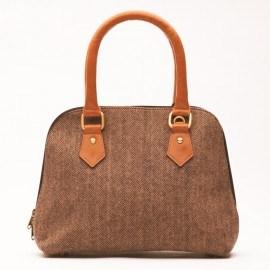 Brun väska i läder och ull