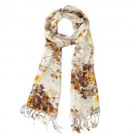 Halsduk med blommiga tryck i jordfärger