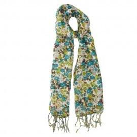 Blommig halsduk i grönt och blåt