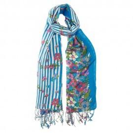 Blå halsduk i siden och ull med blommiga tryck