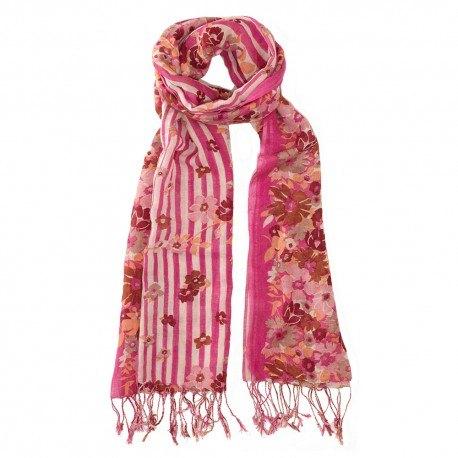 Röd halsduk i siden och ull med blommiga tryck