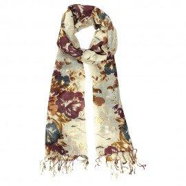 Ull halsduk med blomiga tryck i gyllene färger