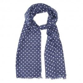 Blå scarf med vita prickar