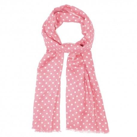 Rosa scarf med vita prickar