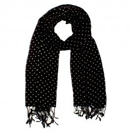 Svart halsduk i ull med vita prickar