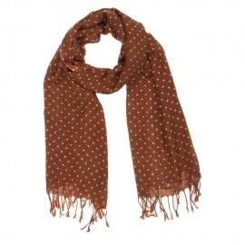 Brun halsduk i ull med vita prickar