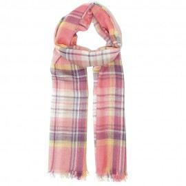 Pink rutig halsduk i lammull/siden